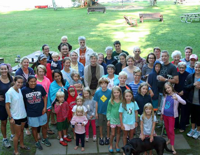An aerial shot of family during family camp