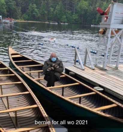 Bernie Sanders added to a canoe at Wohelo