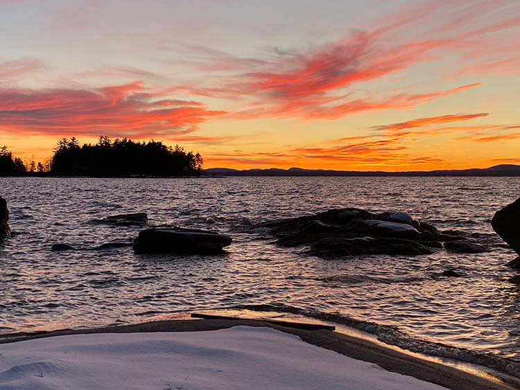 Sunset over the lake on 1-7-21